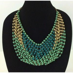 Jackie Ohs NYC Beaded Necklace Layered Green Gold